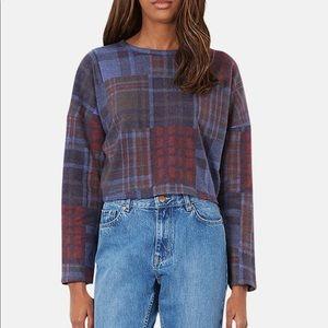 TOPSHOP Tartan Mixed Plaid Crop Sweater